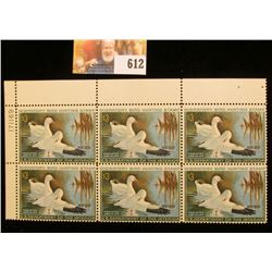 1970 RW37 Federal Migratory Bird Hunting $3 Stamp, Plate numbered block of Six. This block was value