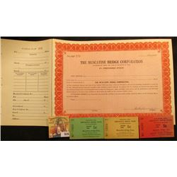 "Unissued Stock Certificate with stub for ""The Muscatine Bridge Corporation"" signed by the President"