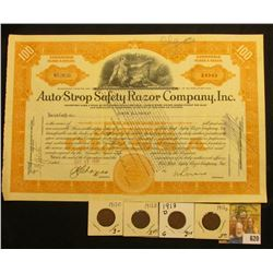 "Oct. 17, 1930 Convertible Class A Stock Certificate for ""Auto Strop Safety Razor Company, Inc."", sca"