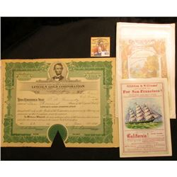 "June 22, 1929 1000 Shares Stock Certificate for ""Lincoln Gold Corporation"", Nevada, cut-cancel throu"
