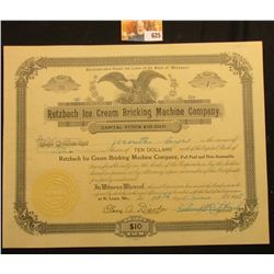 "One Share Stock Certificate ""Retzbach Ice Cream Bricking Machine Company"" June 14th, 1915, upper cen"