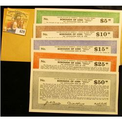 "Five-Piece Depression Scrip $5, $10, $15, $25, & $50 ""Tax Anticipation Note of 1936 United States of"