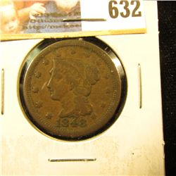 1848 U.S. Large Cent, VG.