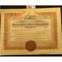 "January 30th, 1915 20 Shares ""International Safe and Register Company, Limited"" with gold notary sea"