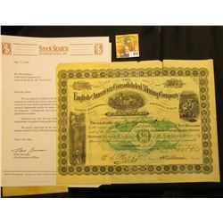 "Rare 1886 ""English and American Consolidated Mining Company of Burlington, Iowa"" for 100 Shares of C"