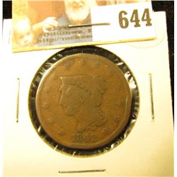 1842 U.S. Large Cent, VG.