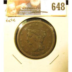 1840 Large Date U.S. Large Cent, VG.