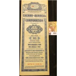"""Red stamped """"Specimen"""" """"United States of America State of Delaware Cherry-Burrell Corporation $5000"""