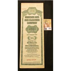 """Red stamped """"Specimen"""" """"Madison Gas and Electric Company $1000 First Mortgage Bond 4% Series Due 196"""