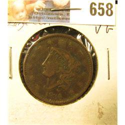 1834 U.S. Large Cent, VG. Slight bend.
