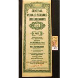 "Red stamped ""Specimen"" ""Central Public Service Corporation $1000 5% Convertible Gold Debenture Due 1"