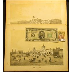 """(2) 8 1/2"""" x 11 1/2"""" Steel engraved plate images of Mexican """"The Palace"""" & """"The Mint"""", both """"P.S. Du"""