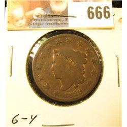1829 U.S. Large Cent, Newcomb No. 8, Good..