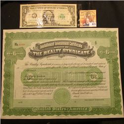 "Unissued Stock Certificate ""Installment Investment Certificate Issued by The Realty Syndicate"", very"