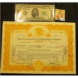 """Oct. 14, 1930 One Share Stock """"The Commercial Bookbinding Company Cleveland, Ohio"""", hole cancelled;"""
