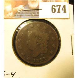 1822 U.S. Large Cent, Newcomb 4, Good.