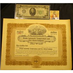 """Unissued Stock Certificate """"Bruhn Automatic Temperature and Fire Alarm Company Minneapolis, Minnesot"""