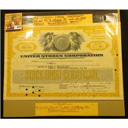 1931 (Depression Years) Stock Certificate Issued to and signed by one of the famous Rockefeller fami