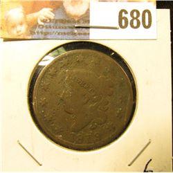 1819/8 U.S. Large Cent, Good +. A quite scarce overdate.