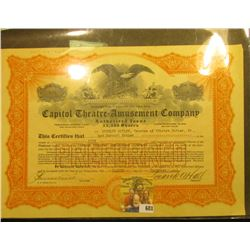 """December 8, 1921 """"Capitol Theatre=Amusement Company…State of New Jersey"""", valid for 5 shares of Pref"""