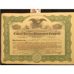 """December 8, 1921 """"Capitol Theatre=Amusement Company…State of New Jersey"""", valid for 5 shares of Comm"""