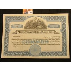 """Number 455 Unissued Stock Certificate """"The Cracker Jack Co…State of Illinois"""", central vignette of W"""