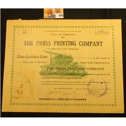 "36 1/2 Shares ""…State of Nebraska 1907 The Press Printing Company of Nebraska City, Nebraska…Shares"