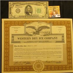 """March, 1929 Number 11 Stock Certificate for 25 Shares of """"Western Dry Ice Company"""", upper, central v"""