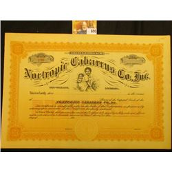 """Unissued Stock Certificate Shares $100 Each """"Nortropic Cabarrus Co., Inc. New Orleans, Louisiana"""", c"""