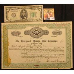 "Number 11 Five Shares ""State of Iowa The Davenport Morris Plan Company Davenport, Iowa"", notary seal"