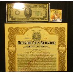 """$500 """"State of Michigan Detroit City Service Company"""" July 1st, 1937, notary seal lower left, centra"""