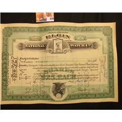 """July 27, 1927 Certificate for One Share """"Elgin National Watch Co."""", hole cancelled, Grim Reaper uppe"""