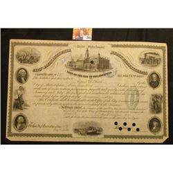 "Large August Seventh, 1854 Certificate No. 237 ""United States of America City of Philadelphia State"