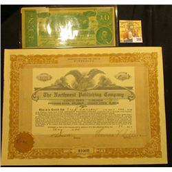"May 17, 1920 ""The Northwest Publishing Company"" One Share at $100 each Minnesota Stock Certificate,"