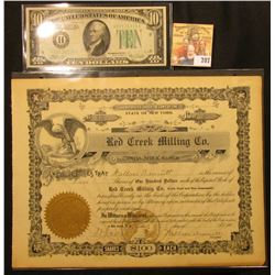 "Stock Certificate number 15 for 5 Shares ""State of New York Red Creek Milling Co."" Capital Stock, up"
