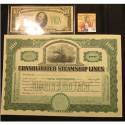 "June 27, 1907 One Hundred Shares ""Consolidated Steamship Lines…State of Maine…"", No. 4236, upper cen"