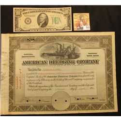 "Stock Certificate No. 3254 for 20 Shares ""American Dredging Company…State of Pennsylvania…"", hole ca"