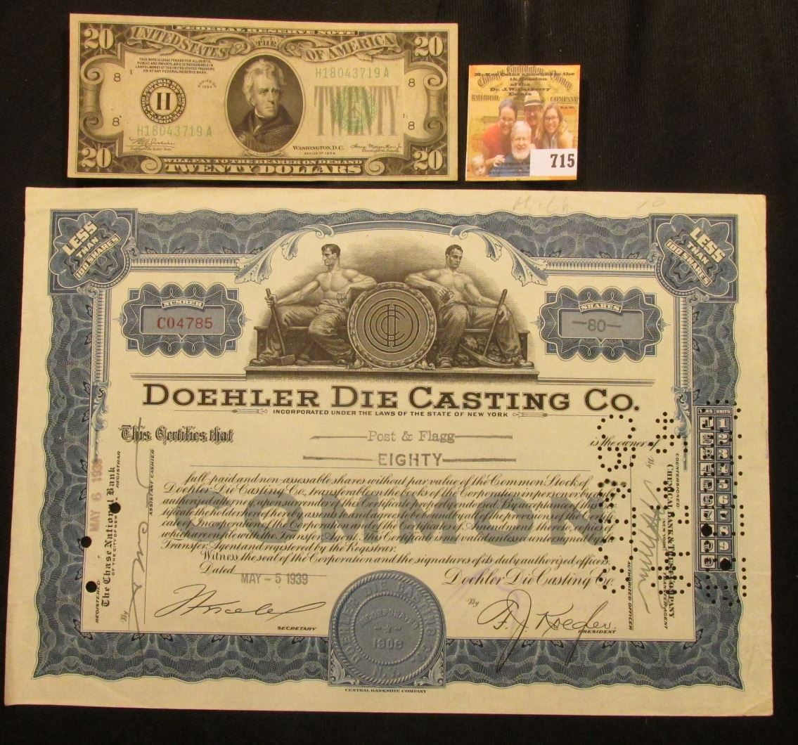 May 5th, 1939 Stock Certificate for 80 Shares of