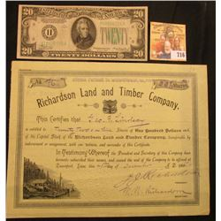 "Dec. 29th, 1916 Stock Certificate number 76 for 22 1/3 Shares ""Richardson Land and Timber Company…Da"