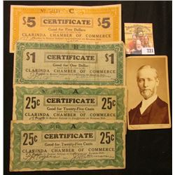 Set of Four Clarinda, Iowa Chamber of Commerce April 10th, 1933 Depression Scrip: (2) 25c, $1, & $5.