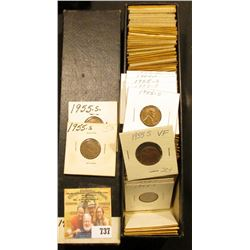 "9"" x 2"" x 2"" Stock Box full of Lincoln Cents dating 1955-57D. Several BU pieces."