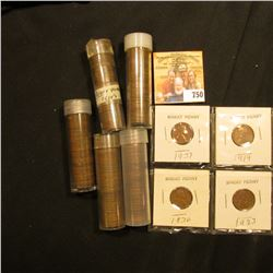 1919, 23, 36, & 37 Lincoln Cents in holders; & (5) Rolls of Cents in plastic tubes including a solid