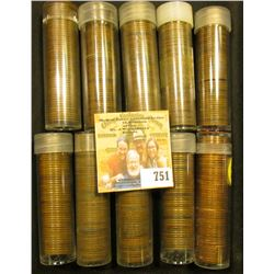 (10) Rolls of Lincoln Cents including a 1918 S Solid Date roll, all in plastic tubes and some marked