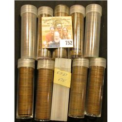 (10) Rolls of Lincoln Cents including a 1919 Solid Date roll, all in plastic tubes and some marked w