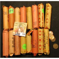 (16) Rolls of Lincoln Cents in paper wrappers, most appear to be  Wheat Back  Cents, I have never ch