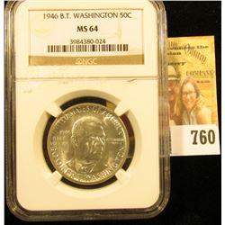 1946 Booker T. Washington Silver Commemorative Half Dollar slabbed NGC MS 64. Nice and white brillia