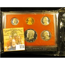 1982 S Cameo Frosted U.S. Proof Set in original holder. Includes Cent to Half-Dollar with special Mi