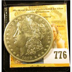 1892 S U.S. Morgan Silver Dollar, VF-EF.
