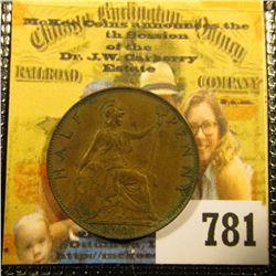 1901 Great Britain Half Penny, Superb EF-AU.