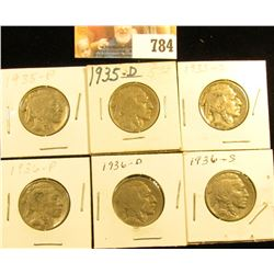 1935 P, D, S, 36 P, D, & S Buffalo Nickels. Grades up to Fine.